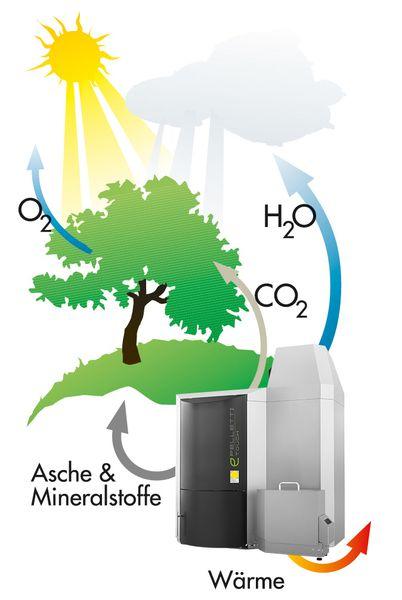 CO Kreislauf Biomasse-Heizung